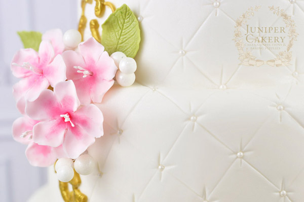 Cherry Blossom Frame Cake Detail by Juniper Cakery