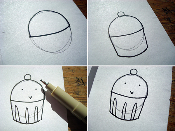 Use circles to draw cupcakes