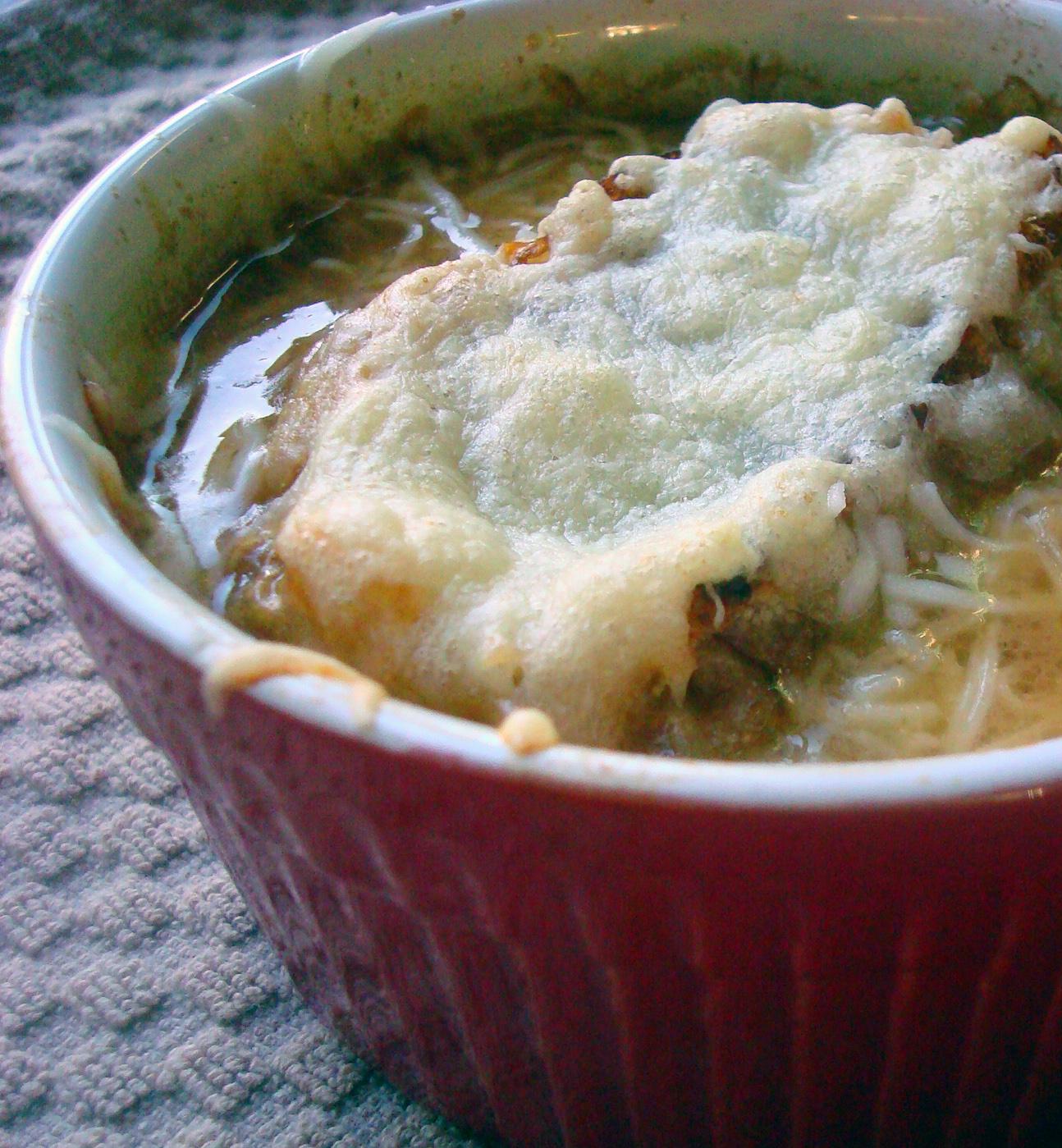 Ramekin with French onion soup