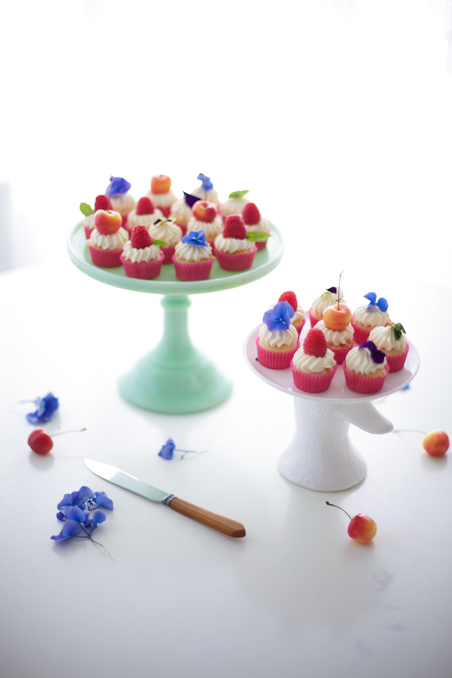 fruit and flower cupcakes