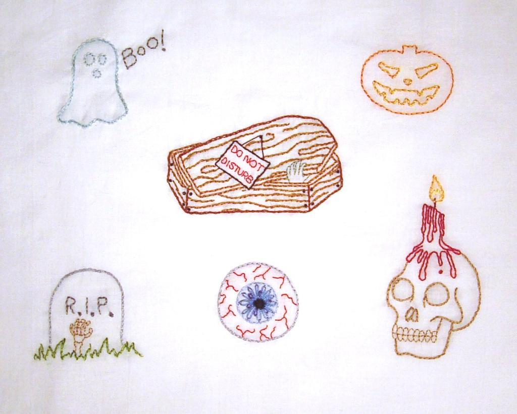 hand embroidery pattern of halloween themed items such as a pumpkin, skull, coffin and ghost