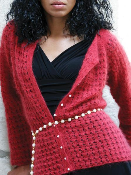 Raspberry Fizz Lace Cardigan crochet pattern