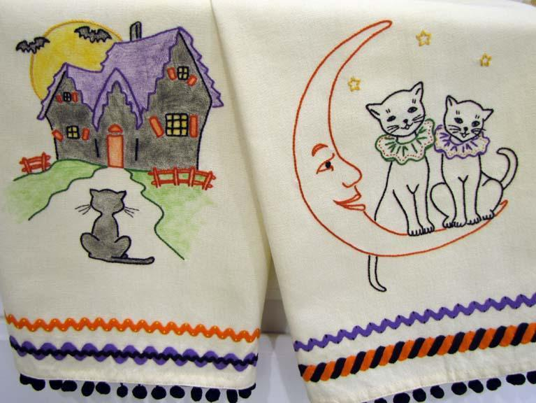 hand embroidery halloween patterns featuring black cats on a moon