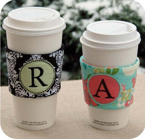 Machine embroidered monogram beverage sleeves via EmbGarden on Bluprint