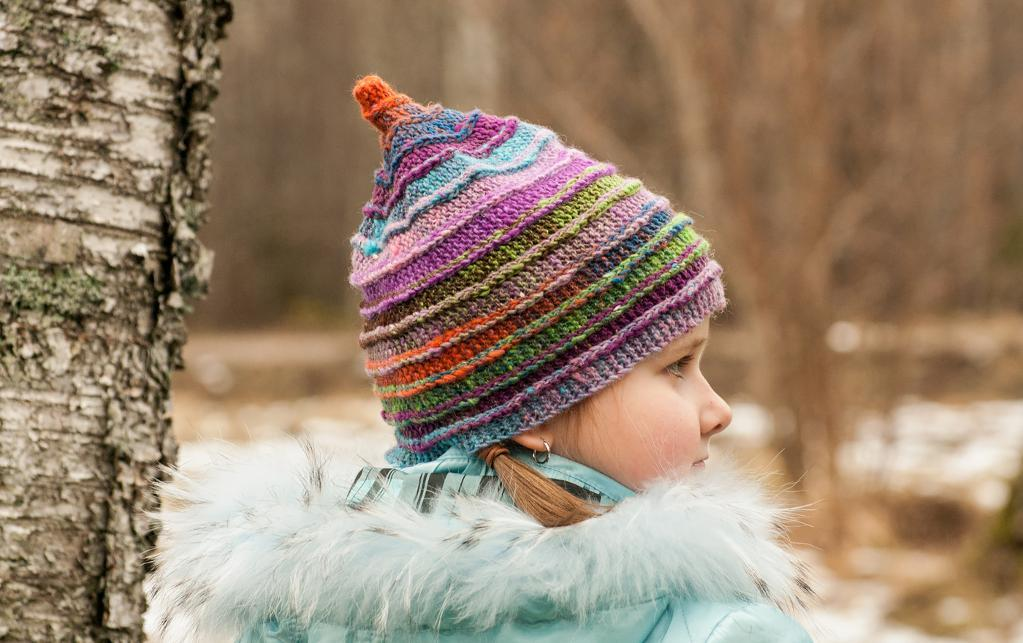 Adorable, colorful Mika hat pattern