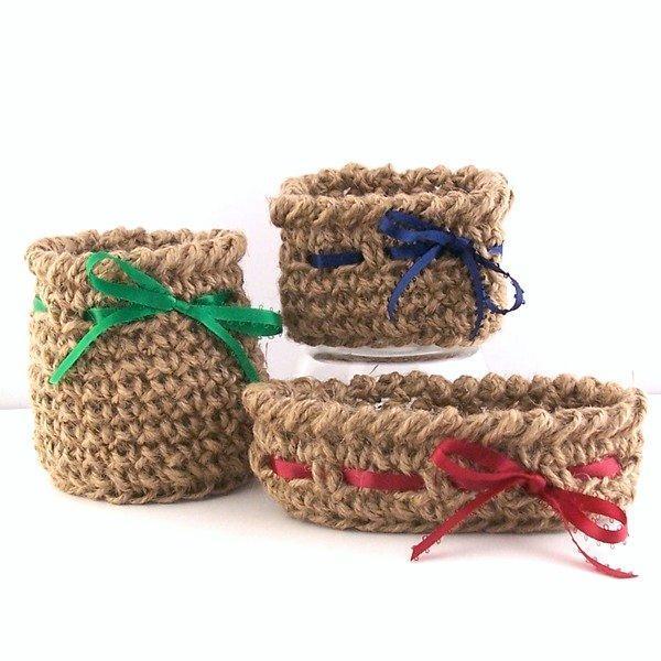 Set of crocheted jute baskets