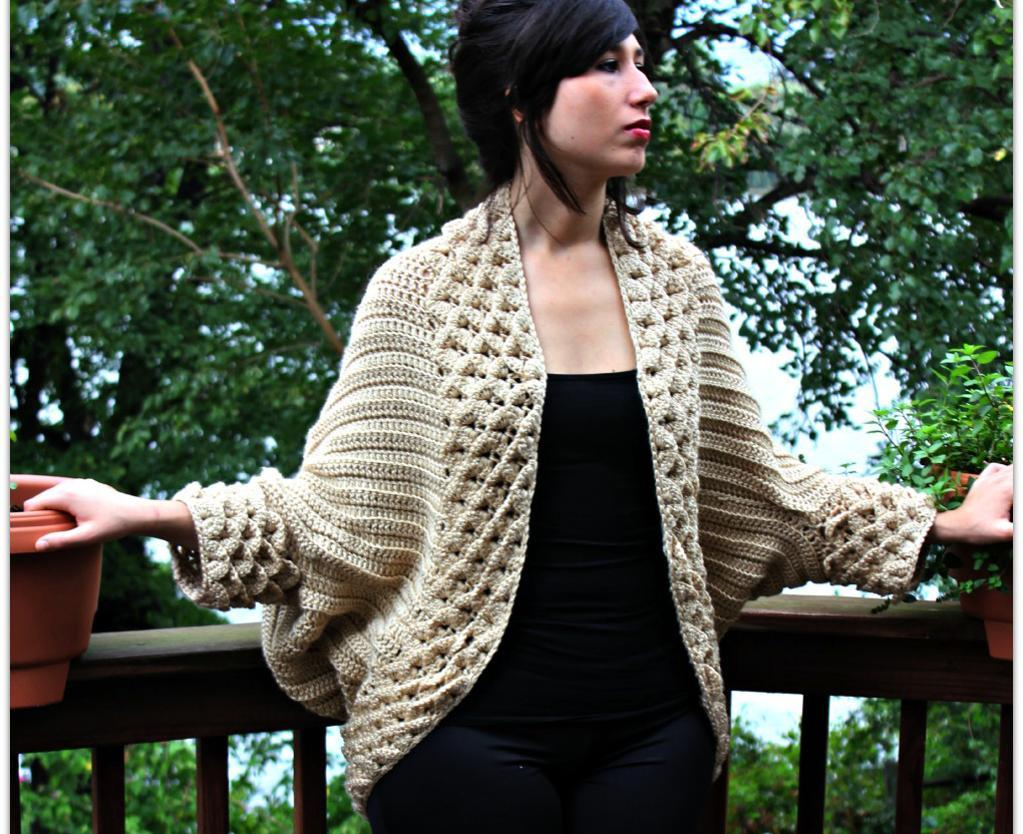 Crocodile Stitch Cardigan crochet pattern