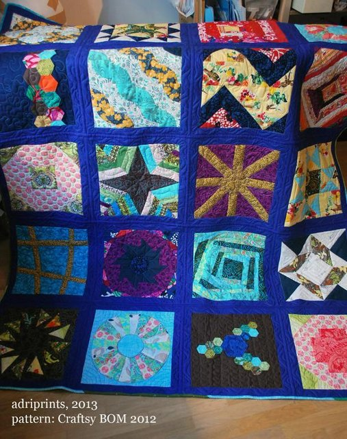 quilt with different fabrics added
