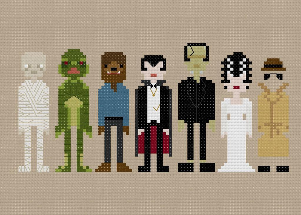 cross stitch pattern of movie monsters such as Frankenstein, Dracula and a werewolf
