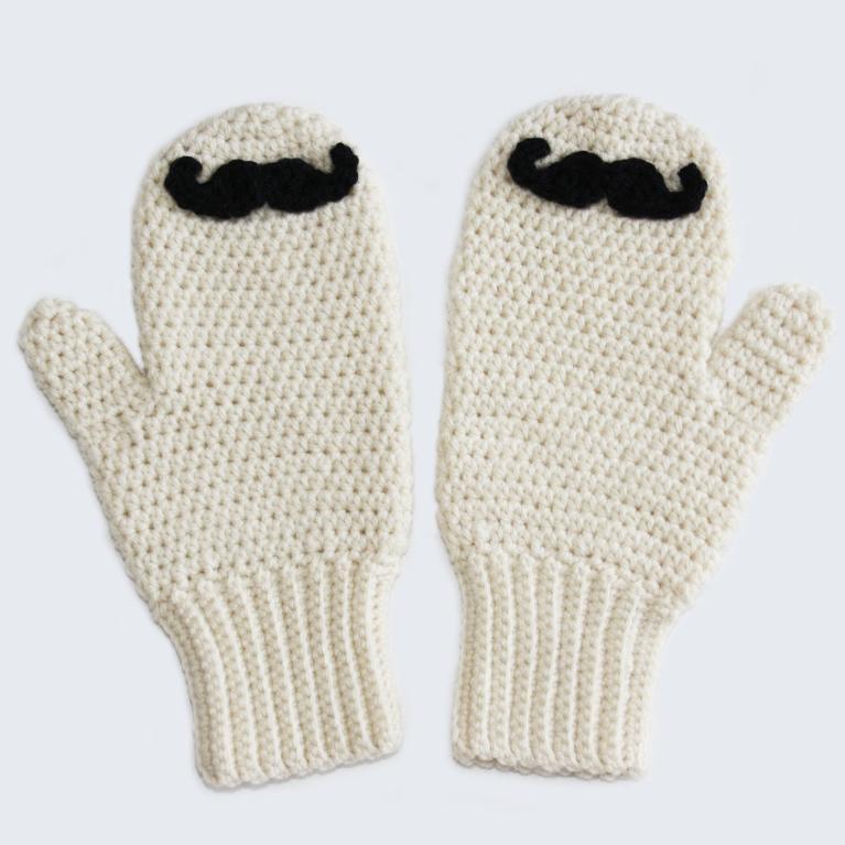 Mustache Mitts crochet pattern