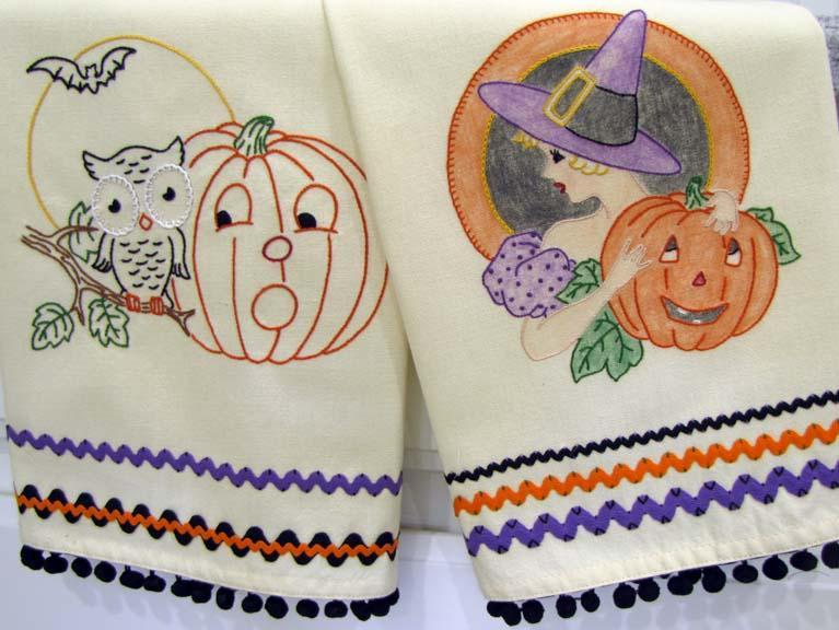 hand embroidery halloween paterns featuring pumpkins and an owl