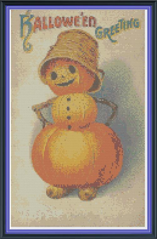 cross stitch pattern of vintage style pumpkin man