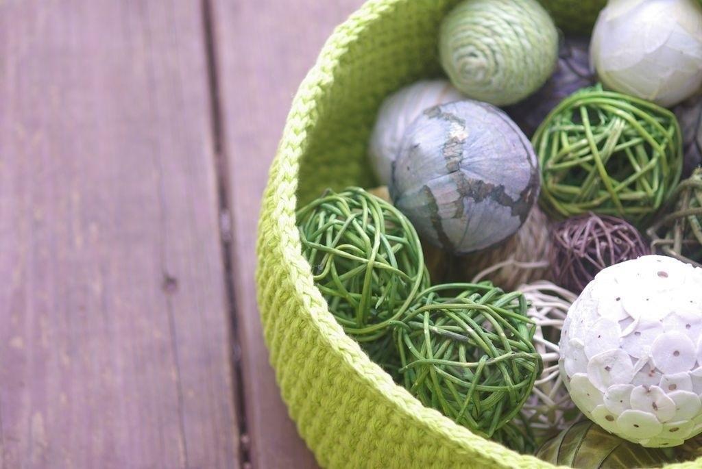 beautiful green crocheted basket