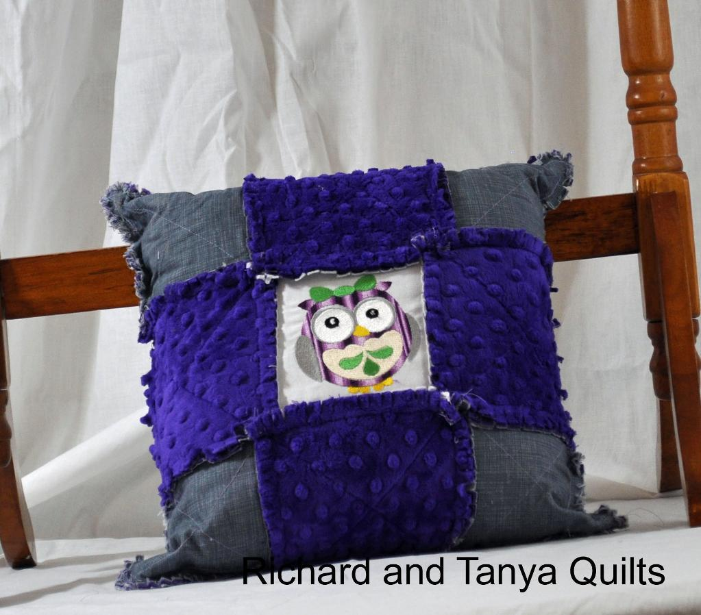 Owl rag throw pillow