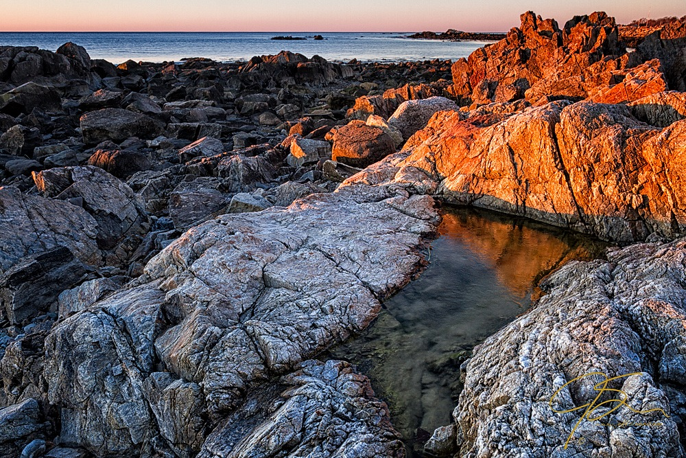 Gold Coast. First Light On The Rocky Coast Rye, NH.