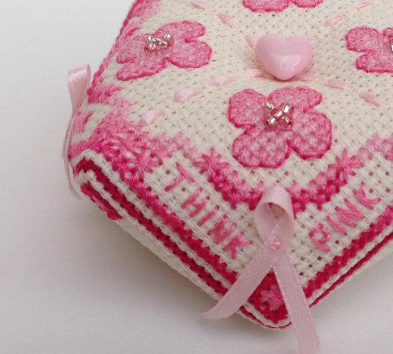 pink breast cancer awareness cross-stitched biscornu pin cushion