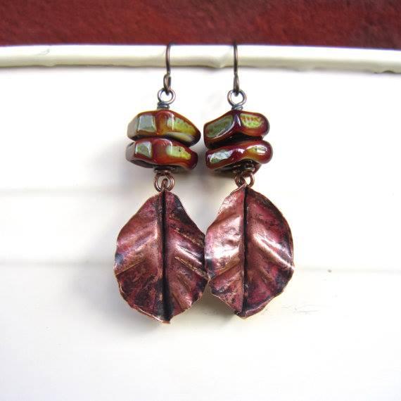 Handmade fold form leaf earrings by Lesley Watt