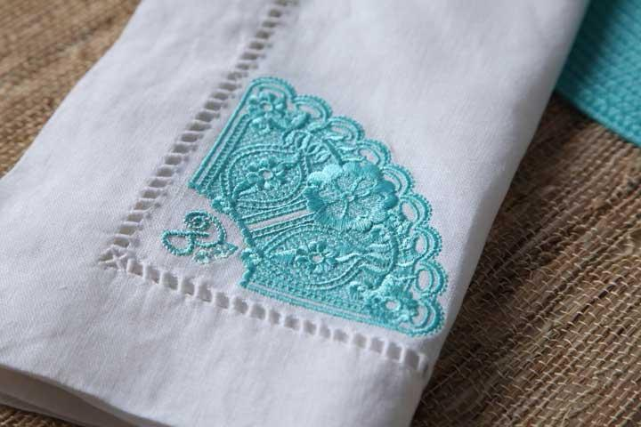 Machine Embroidered Lace Classics Linen Example