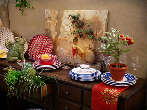 Indoor garden design with buffet and plants
