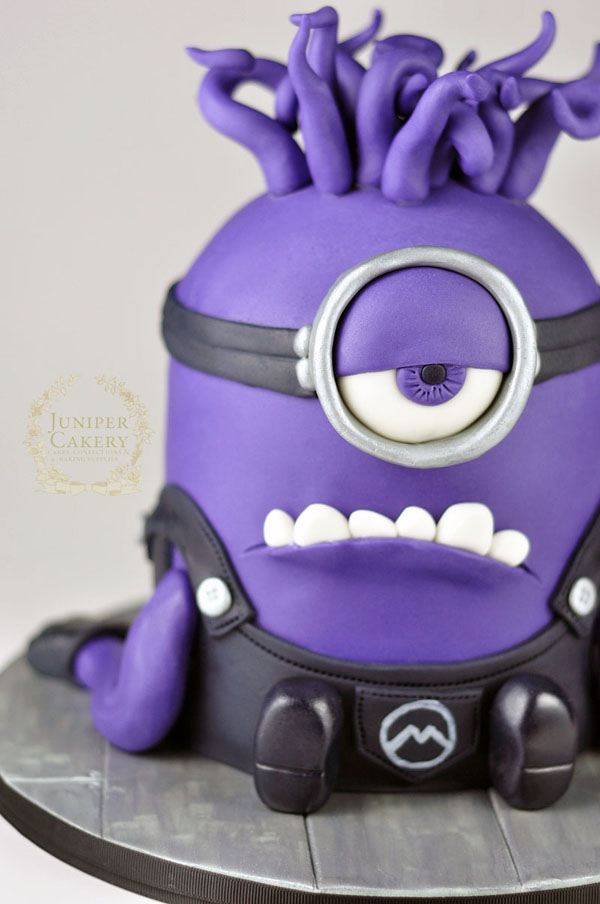 Evil Purple Minion Cake by Juniper Cakery