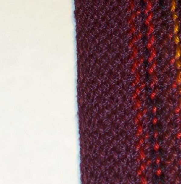 wine-red colored selvedge