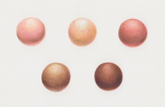 Skin tone spheres in colored pencils