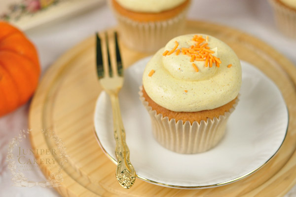 Cupcakes piped with Spiced Pumpkin Buttercream
