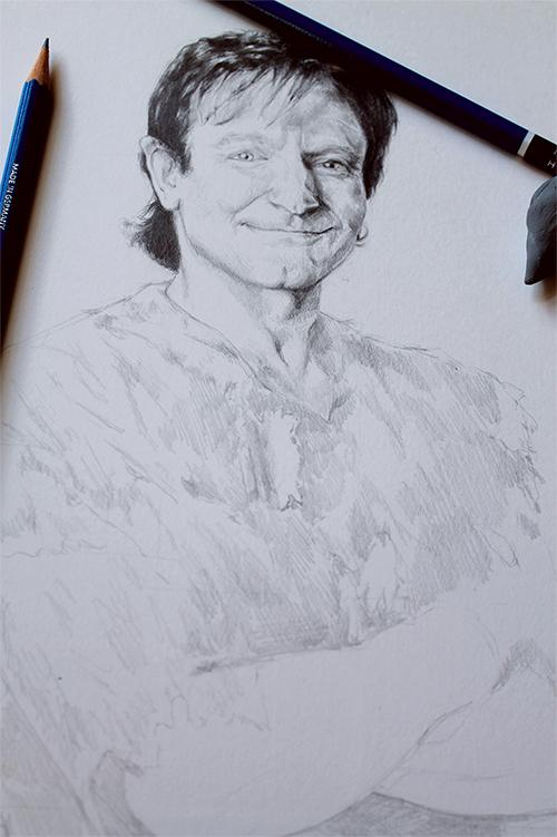 portrait work in progress drawing