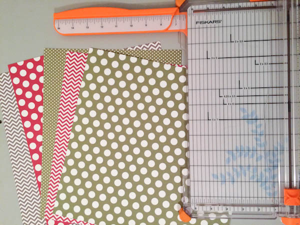 Paper Cutter and Several Sheets of Holiday Card Stock