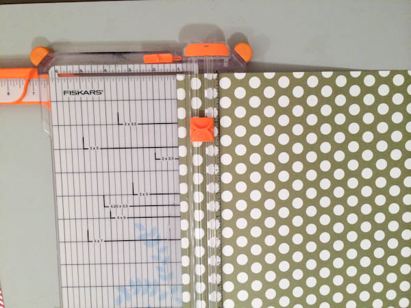 Cutting Strips of Polka Dotted Card Stock on a Paper Cutter