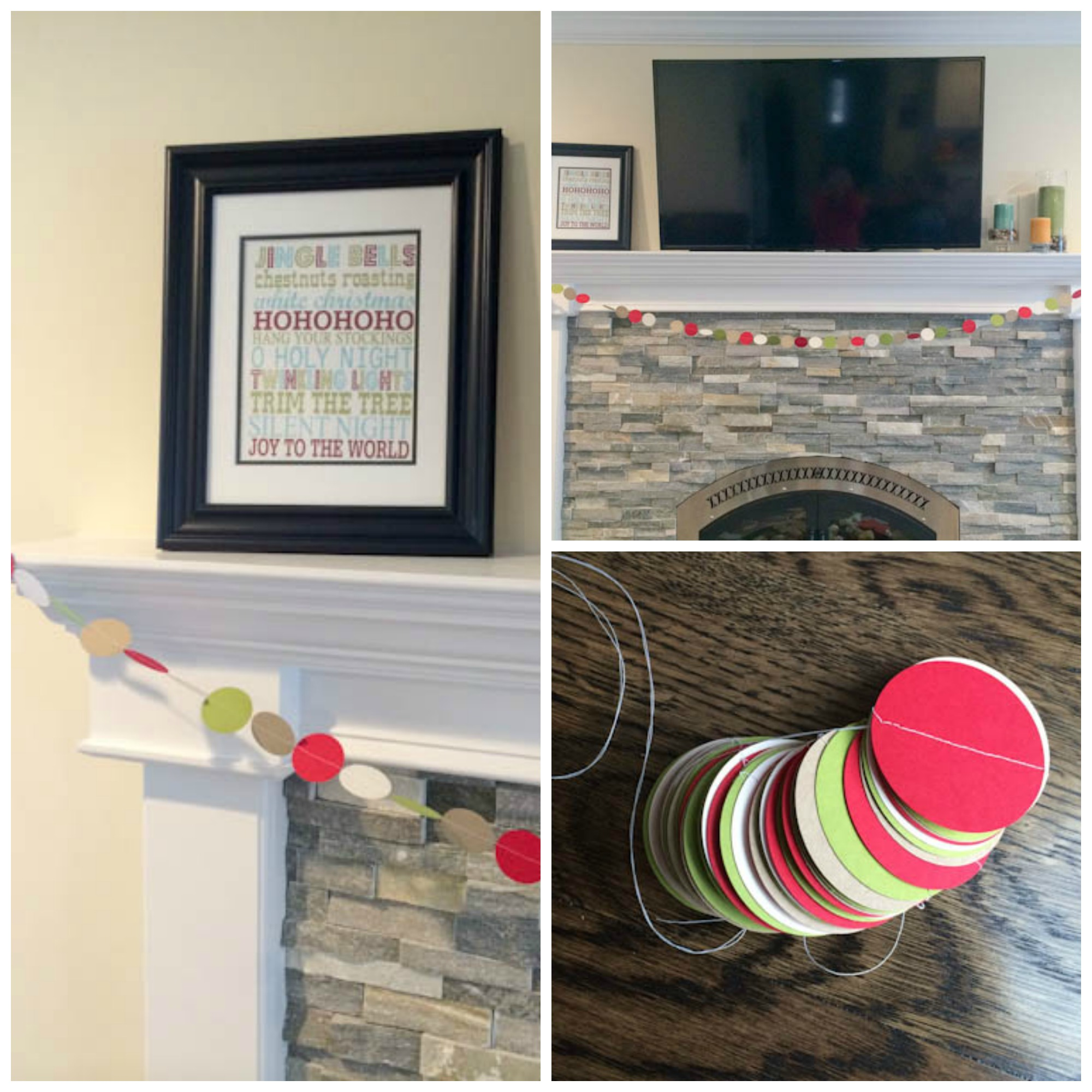 DIY holiday garland strung on a mantle