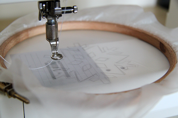 Beginning stitching the snowflake