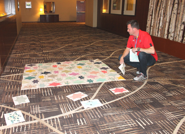 Man Making a Quilt at Sewtopia Event