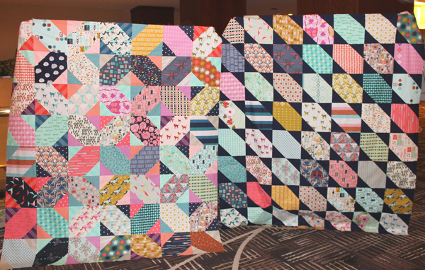 Two Different Quilt Tops Made From the Same Pattern and Fabrics