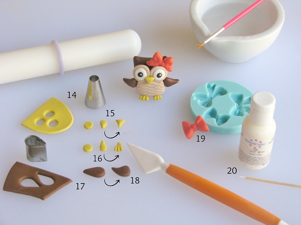 Owl fondant tutorial step 3