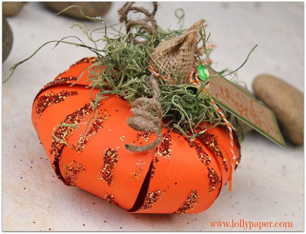 Glitter Paper Pumpkin
