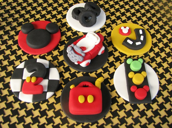 Mickey Mouse Road Ralley cupcake fondant toppers