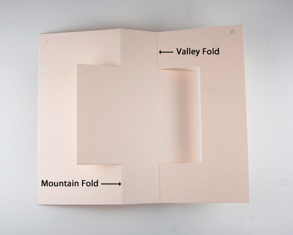 Step 5 Mountain fold at left score line; valley fold at right score line