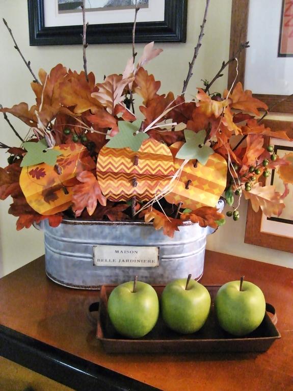 Paper Pumpkin Decor in a Planter