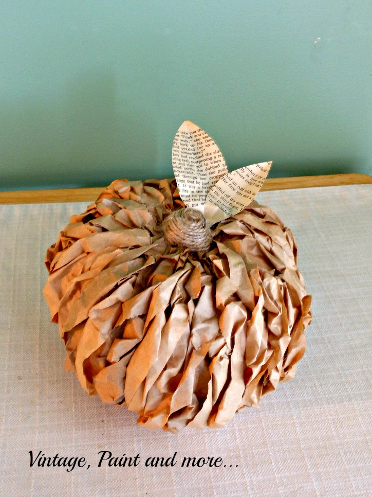 DIY Paper Pumpkin Made With Brown Lunch Bags