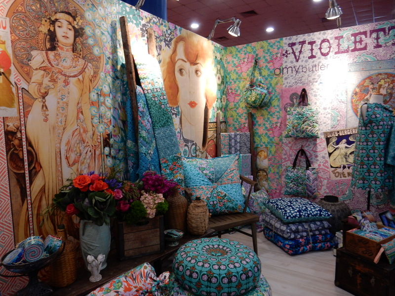 Amy Butler's Violette collection is featured in pillows, clothing and home decor items.