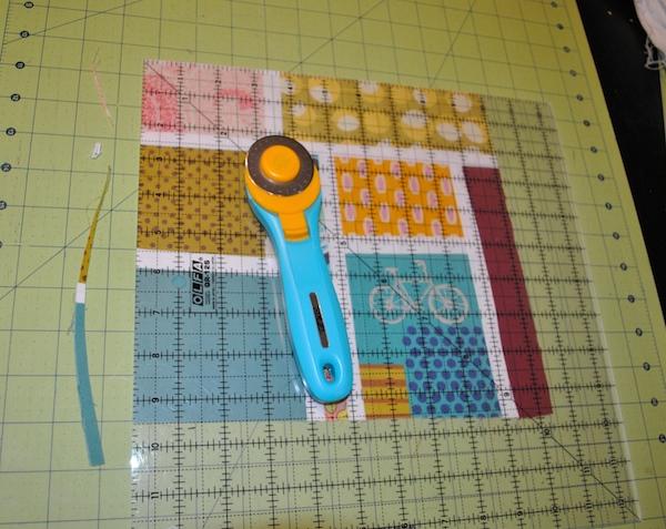 Square up an improvisational quilt block