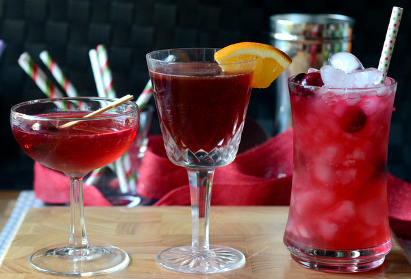 A trio of Cranberry Orange Cocktails, perfect for Holiday Entertaining!