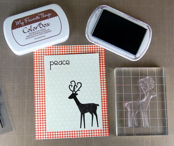 Stamp deer and sentiment onto snowflake panel