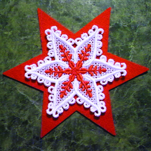 FSL freestanding lace snowflake ornament with felt