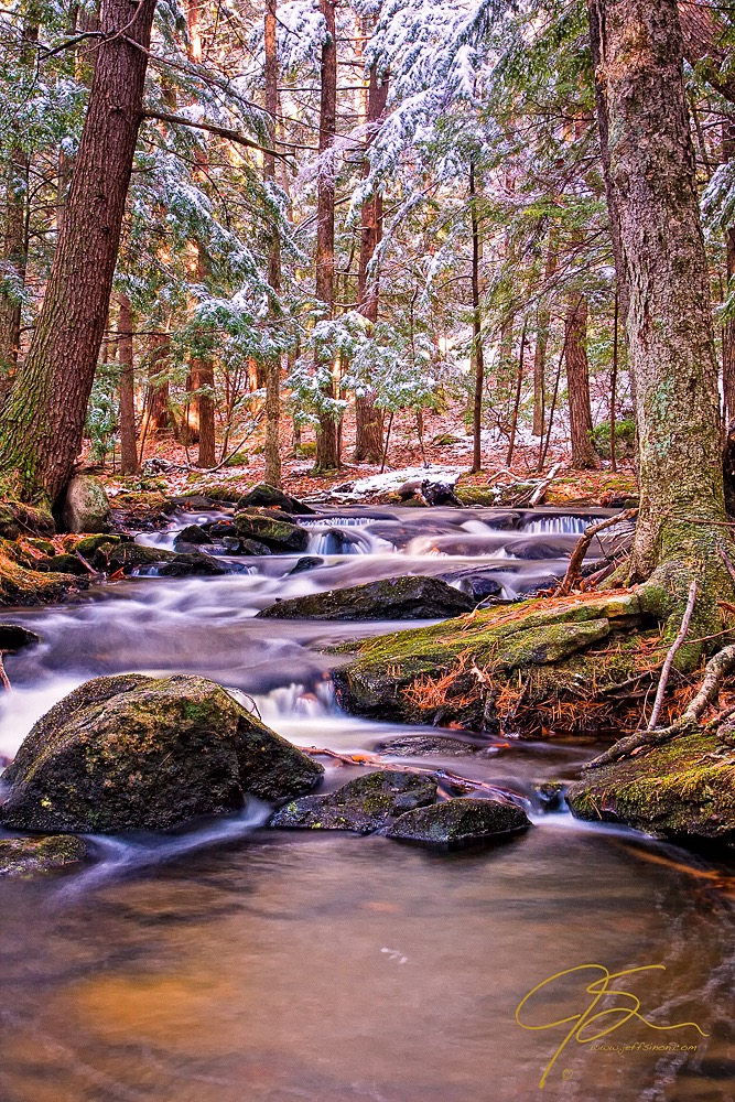 A gently cascading forest stream under a dusting of fresh snow