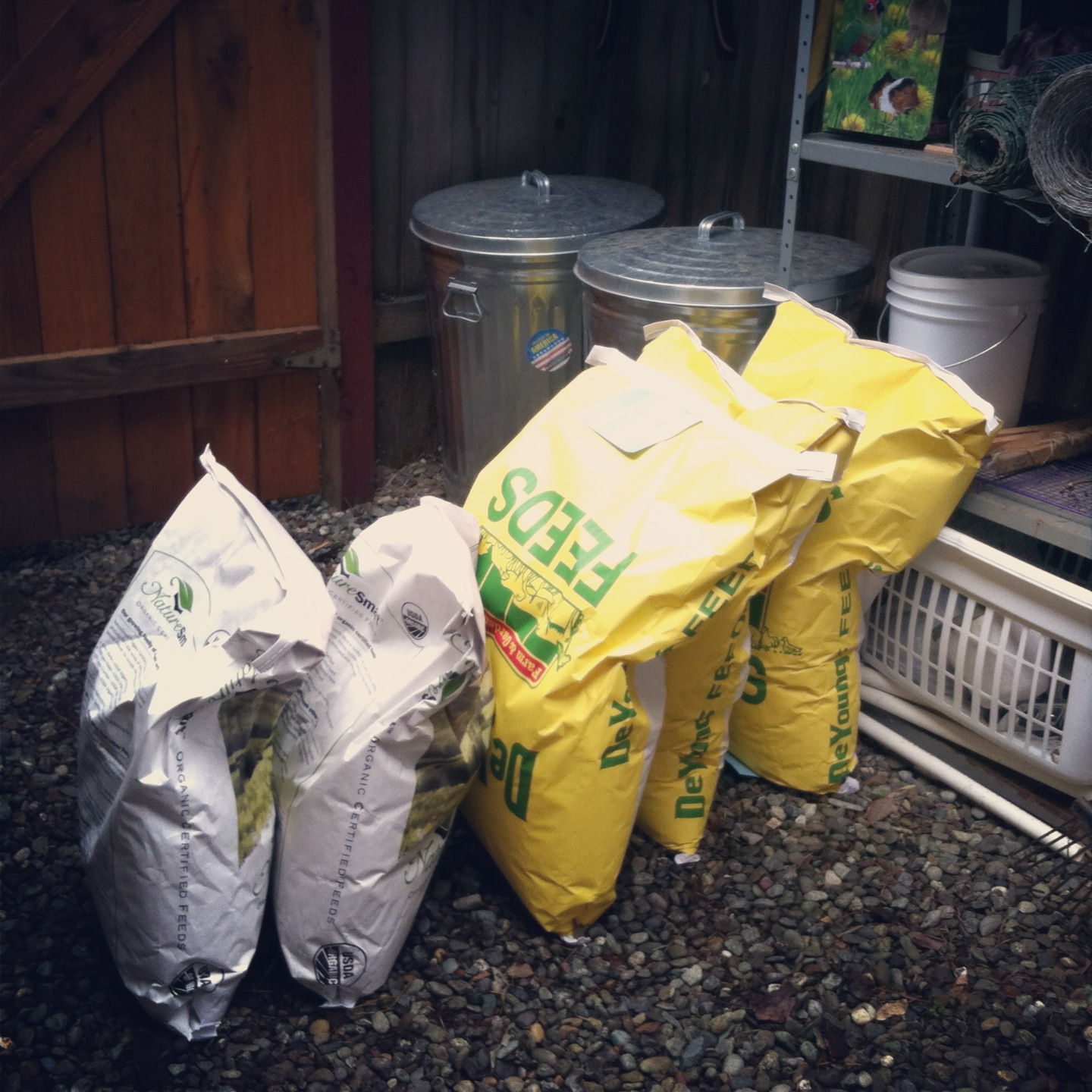 Bags of Chicken Feed