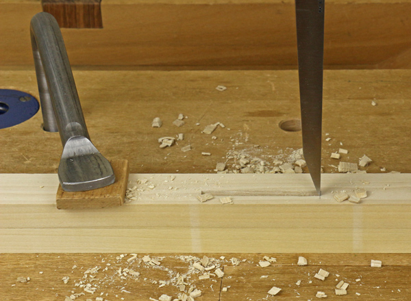 chopping the end of the mortise