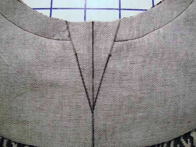 neckline and keyhole sewn