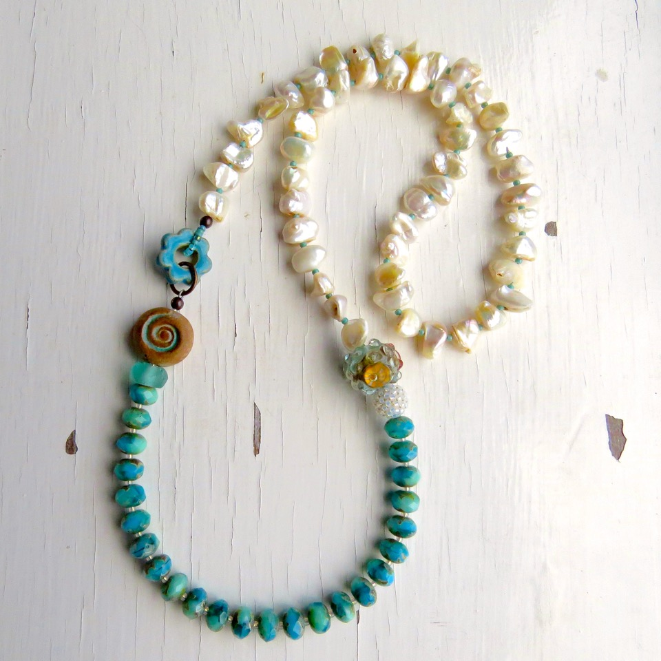 Pearl, glass and handmade bead necklace